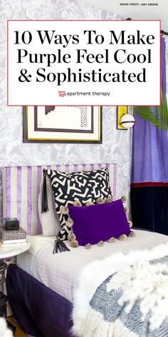Interior designers share their favorite colors to pair with purple for well-balanced, beautifully decorated rooms.  #purple #purpledecor #purplecolorpalette #colorsthatgowithpurple #colorpalette #colortrends #paintcolors #colorcombos #colorfuldecor Light Purple Walls, Purple Rooms, Colorful Decor, Colorful Interiors, Purple Color Palettes, Home Interiors And Gifts, Decor Logo, Brown Furniture, Indian Home Decor