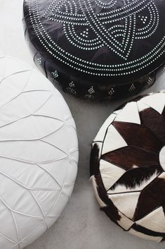 Indie Home Collective.  Moroccan pouffe.  Neutral colours help bring out the lovely geometric designs