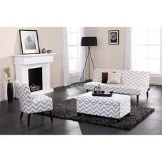 Chevron Living Room SET Futon Sofa Bed, Storage Ottoman, Accent Chair Furniture