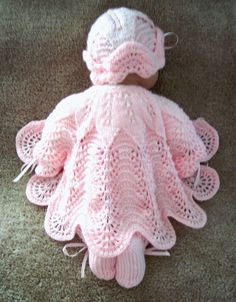 Custom handmade  knit baby girls or Reborn Dolls pink scalloped edge Sweater hat  booties set Layette 0-12M