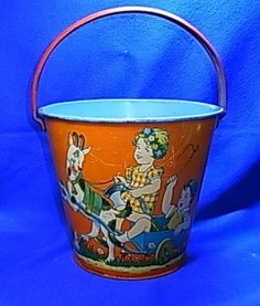 Vintage German Tin Toy Sand Bucket Children Playing Motif