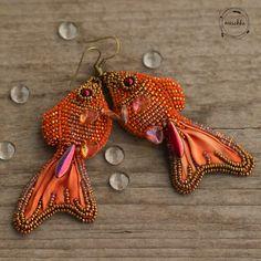 Fishy Earrings with Shibori silk ribbon