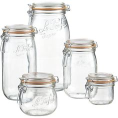 SAFE food storage: Le Parfait Jars from Crate and Barrel Bulk Food Storage Containers, Food Storage Rooms, Glass Food Storage, Crate Storage, Jar Storage, Kitchen Storage, Pantry Storage, Pantry Organization, Glass Containers