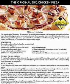 We're posting pizza facts and recipes all of October for National Pizza Month! Here is the recipe for our most popular dish, the Original BBQ Chicken Pizza, which we pioneered way back in 1985. Enjoy!