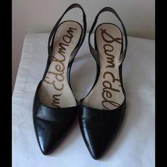"Sam Edelman leather slingbacks Black leather slingbacks - pointed toe - elastic slingback - 3"" heel - genuine leather - excellent condition - size 8.5 Sam Edelman Shoes"