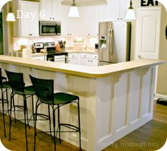 Board and batten kitchen island with corbels thrifty for Board and batten kitchen cabinets