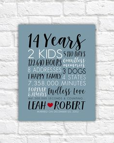 Anniversary Gifts For Husbands Any Year Art Customized You 14 Years Wedding