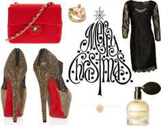 """Sparkling Christmas!"" by aaapple on Polyvore    - #hot #platform #peeptoes #heels by #Louboutin  - #cute #red #vintage #cotton #shoulder #bag by #Chanel  - ""#Uma #dress #black #beaded #trim"" with #black #lace and #diamonds by #Velvet By #Graham & #Spencer  - #cute #fox #ring (14k #Gold) with #ruby #eyes (#etsy.com)  - #necklace #classic #heart #charm & #chain by #Tiffany & Co  - #eau #de #parfum by #BottegaVeneta    So, #MerryChrismas!    (#dinner with #family; #party with #friends)"