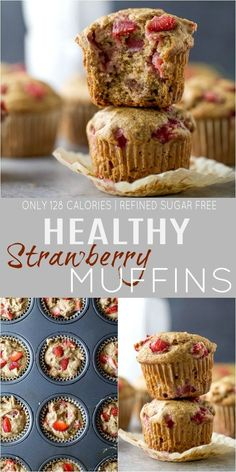 Recipes Snacks Muffins These Moist Healthy Strawberry Muffins are the perfect breakfast on the go! These muffins are dairy and refined sugar free filled with fresh juicy strawberries and whole grains - only 128 calories a serving. Quick Healthy Snacks, Healthy Muffin Recipes, Healthy Dessert Recipes, Gourmet Recipes, Baking Recipes, Healthy Picnic, Picnic Snacks, Chicken Breast Recipes Healthy, Healthy Crockpot Recipes