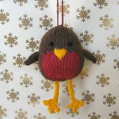 Ravelry: Jolly Robin pdf knitting pattern – toy or Christmas decoration pattern by Amanda Berry Christmas Toys, Merry Christmas, Christmas Decorations, Xmas, I Cord, Christmas Knitting Patterns, Knitted Animals, Yarn Crafts, Crochet Toys