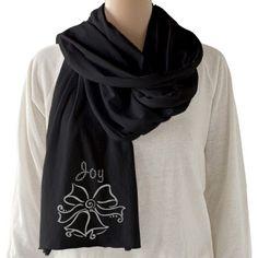 #SilverChristmasBells #Joy #BlackSheerJerseyScarf by #MoonDreamsMusic