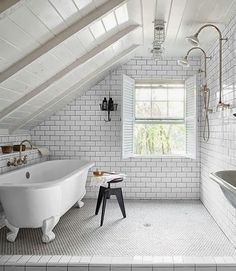 Bathroom Subway Tile Dark Grout wood, slate, tile, metal, brass.masterful mix | bathrooms