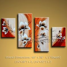 """Enchanting Large 4 Panels Art Paintings On Canvas Contemporary Tulip Flowers 60"""" x 38"""" #2479"""