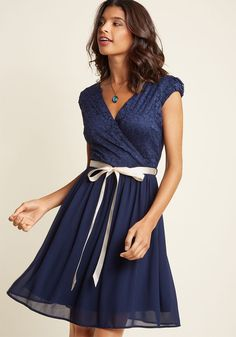 Beautifully Bubbly A-Line Dress in Navy