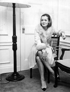 Romy Schneider at the Savoy Hotel in London, 1964