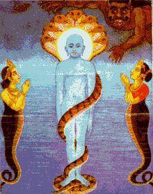 The king and queen of water nagas worshipping Parshvanatha, Twenty-Third Tirthankara. Hanuman Images, Lord Krishna Images, Saraswati Devi, Jain Temple, Kali Goddess, Oil Pastel Drawings, Ganesha Art, Iranian Art, Islamic Art Calligraphy