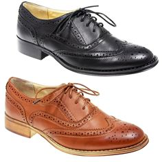 Womens Ladies Lace Up Flat Office Formal School Oxford Brogue Black Tan Shoes | eBay