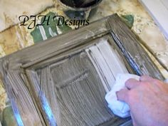 DIY Distressed Vintage Cabinets Shows using it for kitchen cabinets
