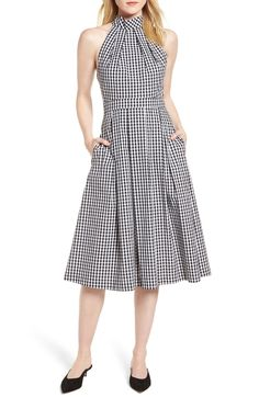 Gingham Halter Dress,                         Main,                         color, Black- White Gingham