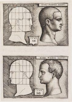 Hans Sebald Beham, Man's Head and Woman's Head, 1542