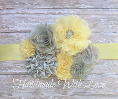 Custom order reserved for Kayla….Please do not purchase unless you are her. Thank you. Sweet Yellow and GREY Maternity Sash---Photography Prop--Pregnancy Sash Add an extra touch of beauty to your next maternity photo shoot with this sweet yellow and grey maternity sash...I simply love these colors together. This yellow ribbon sash had been adorned with a combination of yellow and grey blooms...from shabby chic flowers to chiffon and satin...adorable! I have added some touches of ...