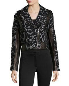 T8XY2 Diane von Furstenberg Leopard-Print Leather-Trim Jacket, Black
