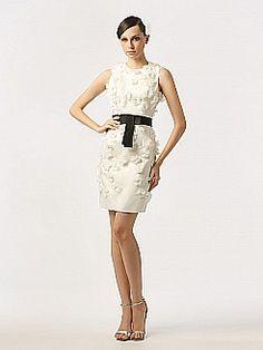 Allover Flower Embellished Bridal Dress with Contrasting Sash - USD $168.00