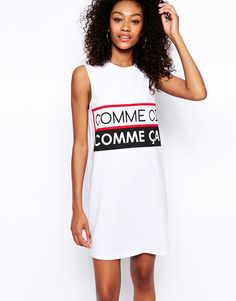 Image 1 of ASOS Sleeveless T-Shirt Dress in Comme Ci Comme Ca