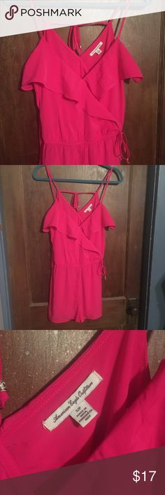 American Eagle hot pink romper short set Seriously cute hot pink romper short set with tie accessories by American Eagle Outfitters. Great condition. It's beach weather somewhere! American Eagle Outfitters Pants Jumpsuits & Rompers