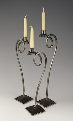 Flight Trio by Rob Caperell (Metal Candleholders) Wrought Iron Candle Holders, Taper Candle Holders, Candle Stand, Welded Furniture, Iron Furniture, Wrought Iron Decor, Welding Art, Metal Projects, Blacksmithing