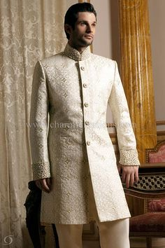 Ivory brocade silk Asian fusion sherwani with pearls and diamante embroidery