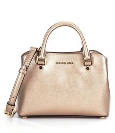 New MICHAEL Michael Kors Gold Metallic Leather Savannah Small Satchel Bag NWT #MichaelKors #Satchel