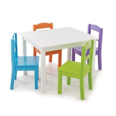 Tot Tutors White Table with 4 Vivid Colors Chair Set - Tot Tutors - Toys  R  Us  sc 1 st  Pinterest & Kids Wood Table Set with 4 Chairs in Primary Colors - Kidz Room ...
