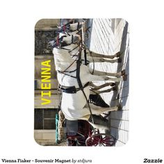 Shop Vienna Fiaker - Souvenir Magnet created by stdjura. Horse Drawn, White Horses, Golf Bags, Vienna, Austria, Switzerland, Magnets, Shopping, Souvenir
