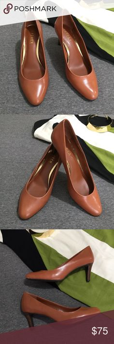 Lauren Ralph Lauren Harper Leather Pumps These gorgeous caramel cognac leather pumps with a wooden heel are perfect for everyday wear! A soft pointed toe heel and a shiny finish make these heels extra stylish! Excellent condition, only flaws are a few light marks from storage as pictured. Lauren Ralph Lauren Shoes Heels