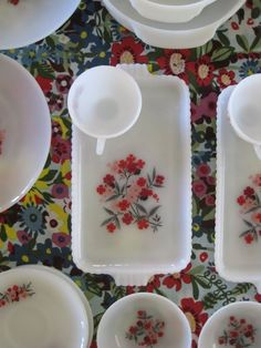 snack trays, primrose pattern-I just bought the snack trays but the cups were missing, I just could not resist:) Vintage Canisters, Vintage Kitchenware, Vintage Dishes, Vintage Items, Vintage Pyrex, Vintage Glassware, Happy Kitchen, Toy Kitchen, Kitchen Utensils