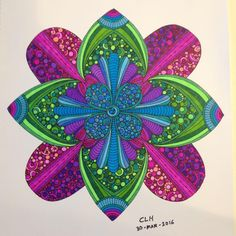 Coloured By Christine Hickman‎. Finally finished my WIP from Mandalas and More by Valentina Harper. Used Sharpies.