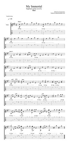 """Evanescence - My Immortal fingerstyle guitar TAB - fingerstyle guitar cover by """"Ruel"""" - Guitar Pro TAB - PDF - sheet music"""