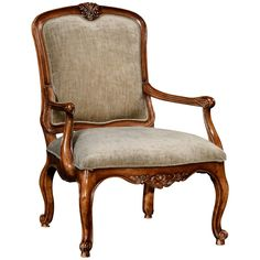 Jonathan Charles French Walnut Chair with Fine Velvet Upholstery