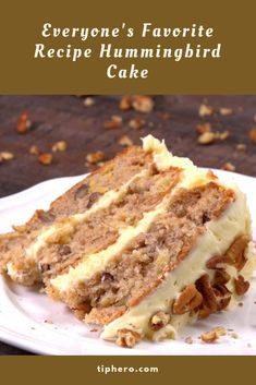 Everyone's Favorite Recipe Hummingbird Cake #cake #sweet #dessert Cupcake Icing, Frosting, Cake Cookies, Cupcakes, Hummingbird Cake, Sweet Pastries, Delicious Dishes, Special Recipes, Sweet Cakes