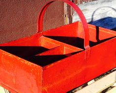 GORGEOUS Vintage Red Metal Garden Tote Tool by SisterSassafras