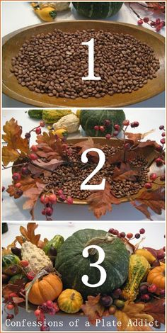 How to Create a Fall Dough Bowl in Three Easy Steps CONFESSIONS OF A PLATE ADDICT: How to Create a Fall Dough Bowl in Three Easy Steps I use coffee beans in mine…adds a great scent and doesn't draw mice year old houses do have drawbacks. Thanksgiving Decorations, Seasonal Decor, Holiday Decor, Holiday Tablescape, Thanksgiving Appetizers, Thanksgiving Crafts, Fall Home Decor, Autumn Home, Wooden Dough Bowl