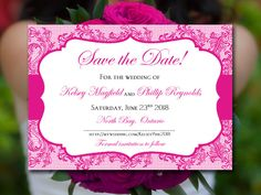 "Save the Date Wedding Announcement Begonia Wedding ""Chic Lace"" Instant Download…"