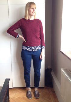 Ultimate Trousers – plain navy for work, dark brocade, spotty, gingham