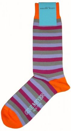 Mens Socks | Gene Meyer Grey/Pink/Orange Socks | @ KJ Beckett - View The Collection!