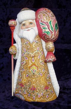 Gorgeous Russian Hand Carved Wood Santa Father Frost 12 ""
