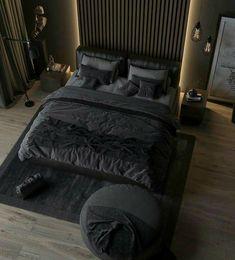 Terasuki y/n Black Bedroom Design, Black Interior Design, Luxury Bedroom Design, Home Room Design, Dream Home Design, Black Bedroom Decor, Black Bedrooms, Black Bedroom Furniture, Teen Bedrooms
