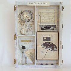 Assemblage Art Wooden Box / Joseph Cornell Tribute / Earth and Sky , Joseph Cornell Boxes, Collages, Collage Art, Tribute, 3d Studio, Pintura Country, A Level Art, Decoupage, Box Art