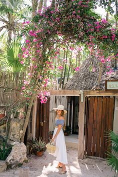 Gal Meets Glam Our Full 5 Day Tulum Travel Guide - J.Crew swimsuit top, Miguelina skirt, Indego Africa bag, Cuyana hat & Carrie Forbes sandals