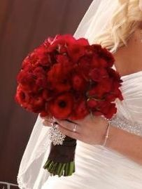 Red Bridal bouquet. Wedding flowers by Flor by Melissa.
